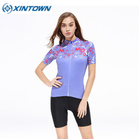 XINTOWN Flower Cycling Jersey + Short 3D Padded Cycling Short Sleeve Set Women Summer Cycling Jersey Sets Bike Cyling Set
