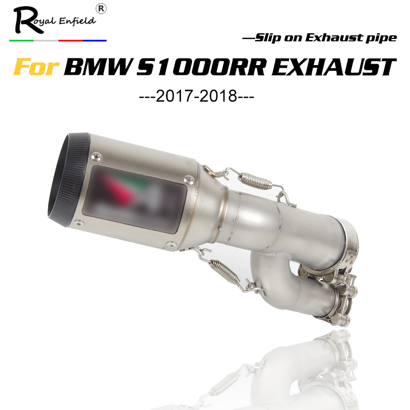 Escape Exhaust-Pipe Motorcycle Ar Muffler Slip-On BMW with for S1000RR Middle-Link