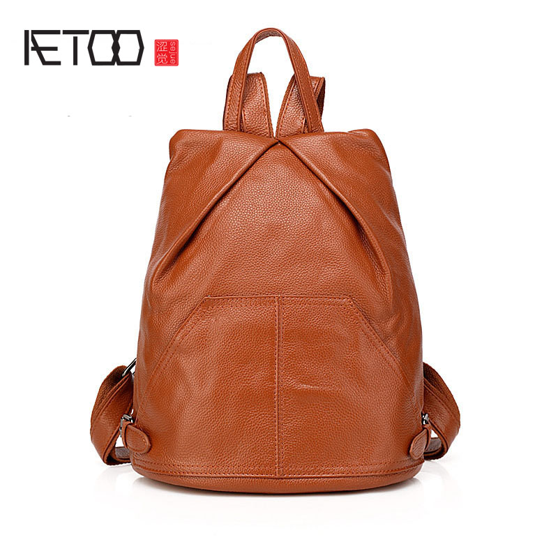 AETOO New first layer of leather shoulder bag leather Korean female package casual student school bag school wind aetoo first layer of leather shoulder bag female bag korean version of the school wind simple wild casual elephant pattern durab