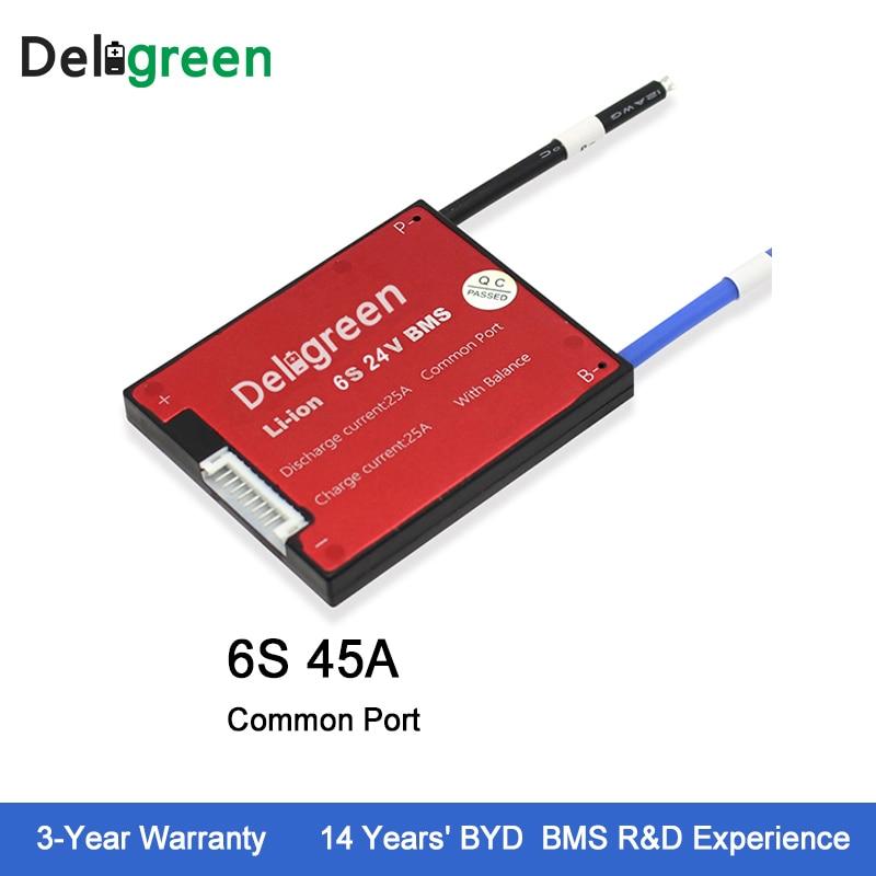 Deligreen 6S 45A 24V PCM PCB BMS for lithium battery pack 18650 Li Po Battery Pack