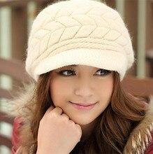 2016 Winter Beanies Knit Women's Hat Winter Hats Natural Stripe Rex Rabbit Fur Caps lady winter warm Headwear
