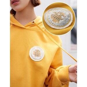 Image 3 - Toyouth 2019 Women Sweatshirts 새 도착 봄 긴 소매 느슨한 솔리드 컬러 후드 여성 캐주얼 스웨터