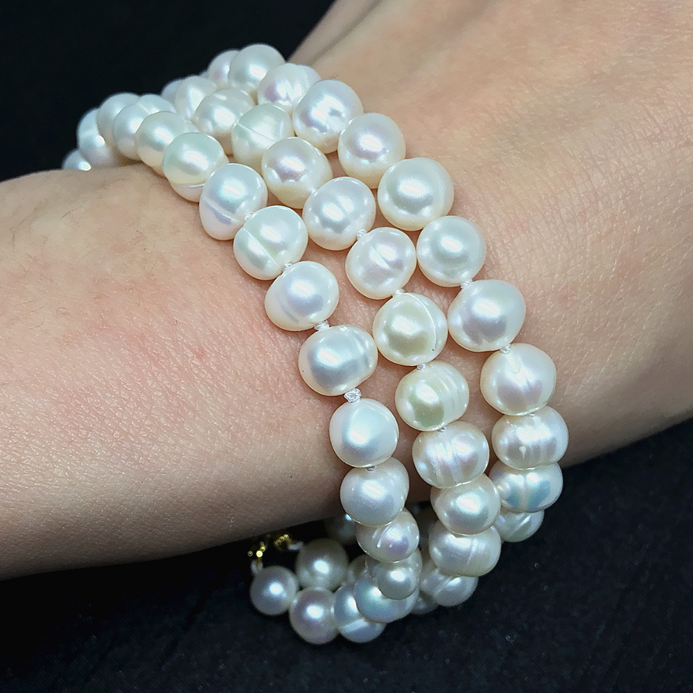 Natural white freshwater pearl charm round beads 7-8,8-9mm 3 rows high quality bracelet for women gift jewelry 7.5inch B1523