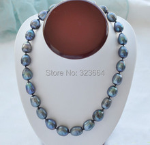"Huge 17"" 22mm black drip freshwater pearl necklace"