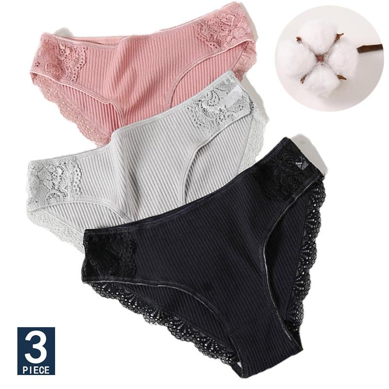 M L XL 3PCS Cotton Underwear Women's   Panties   Set Comfort Underpants Floral Lace Briefs For Woman Sexy Low-Rise Pantys Intimates