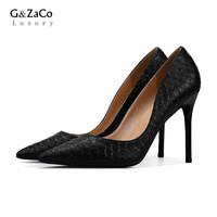 G&Zaco Luxury Genuine Leather High Heels Shoes Sexy Serpentine Pointed Toe Real Leather Thin Heels Pumps Women's Singles Shoes
