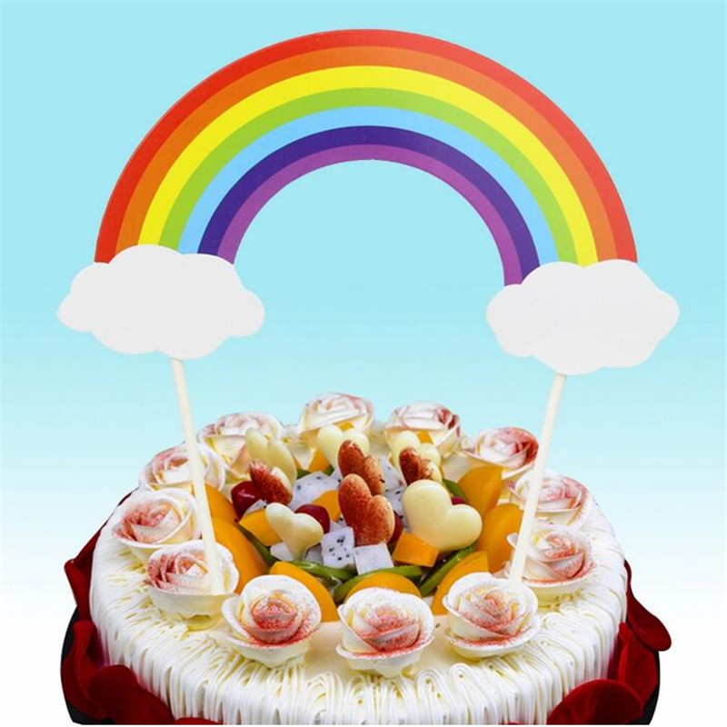 5PCS Rainbow and Clouds Insert Cards Cake Decorations for ...