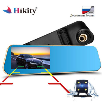 Hikity 4.3 ''Auto Achteruitkijkspiegel Camera Dual Lens Video Recorder Parking Monitor Achteruitkijkspiegel Auto Recorder Dashcam Auto DVRs