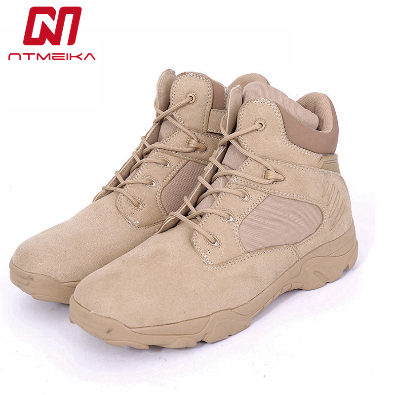 Genuine Leather Men Boots High Quality Winter Tactical Swat US Army Military Boots Men Desert Combat Boots Mens Plus Size 38-46