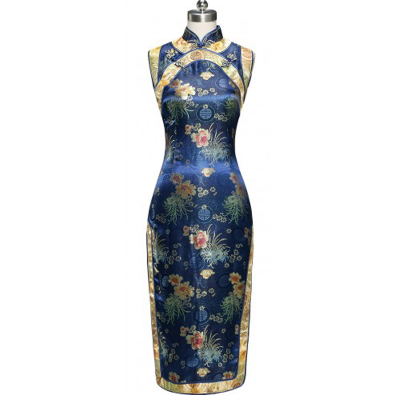 Blue Chinese Style Female Satin Cheongsam Summer Sleeveless Long Qipao Top Formal Evening Dress Size S M L XL XXL 020502