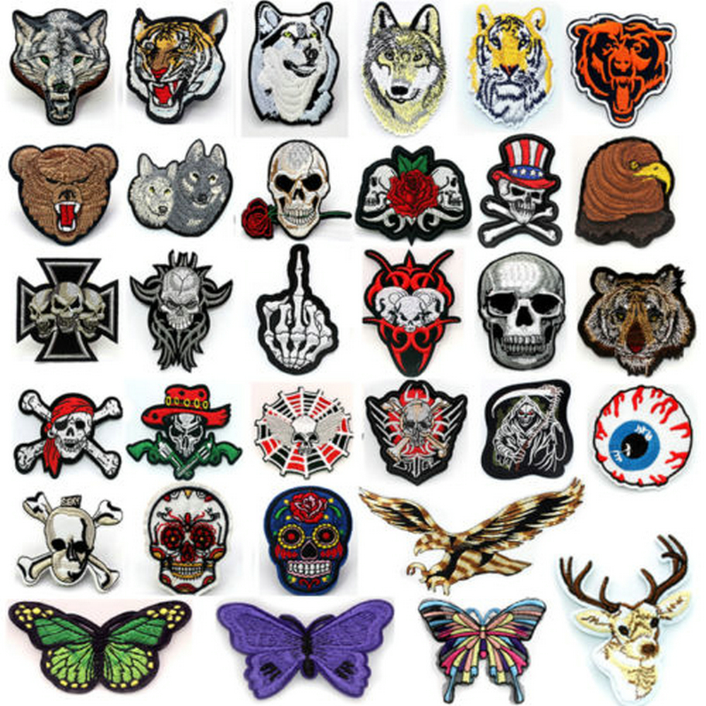 Pc new embroidered patches skull wolf applique badge sew