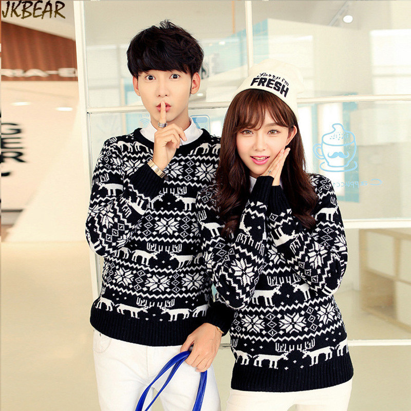 aztec full print reindeer snowflake matching christmas sweaters plus size tribal couples pullover sweater s xxl in pullovers from mens clothing