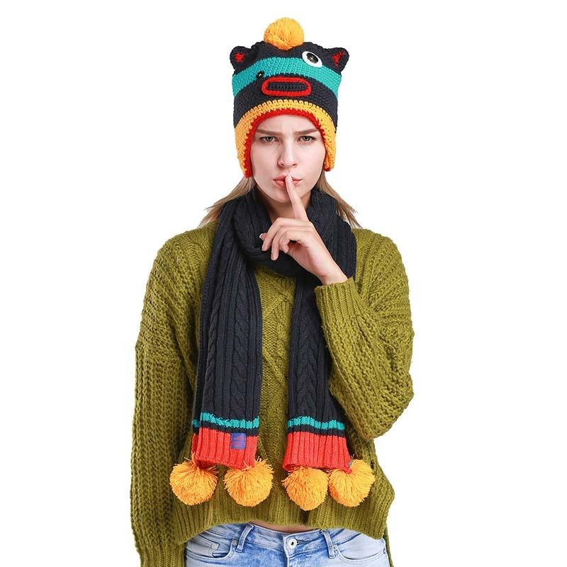 2pcs Set Women Hat Scarf Winer Cap And Scarf Women Warm Cap Casual Knit Beanies Ensemble Bonnet Echarpe