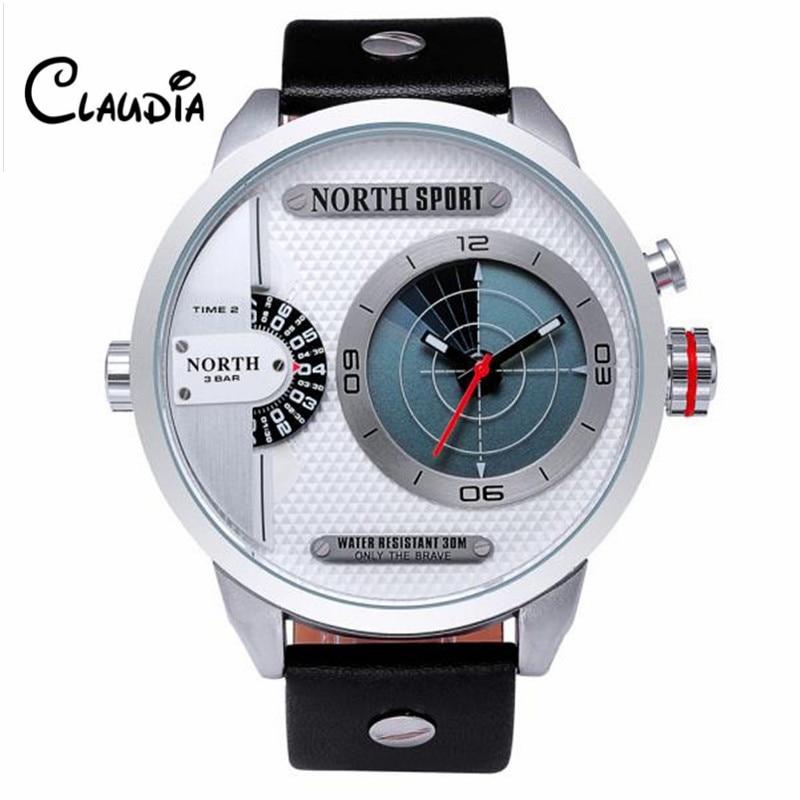 New CLAUDIA Fashion North Double Movement Radar Scan Quartz Wrist Watch Leather Sports Mens Watch FreeShipping