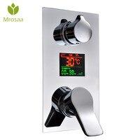 KCASA температура цифровой Дисплей латунь смеситель для душа Керамика клапан воды питание настенный Ванная комната переключателем Душ смеси