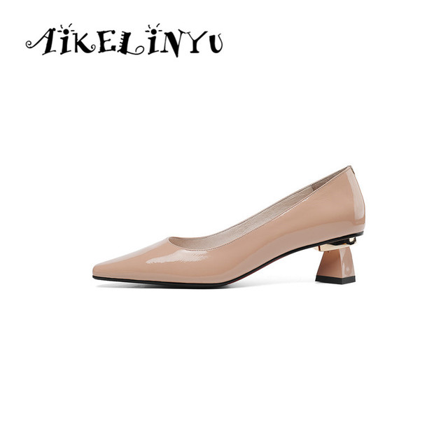 AIKELINYU 2019 Hot Sale Spring Pumps Genuine Leather Pointed Toe Square Heel Shoes Black Shallow Elegant Office Women Solid Pump