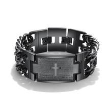 Black Surgical Steel Bacelet Wrist Band Men Bracelet Homme d