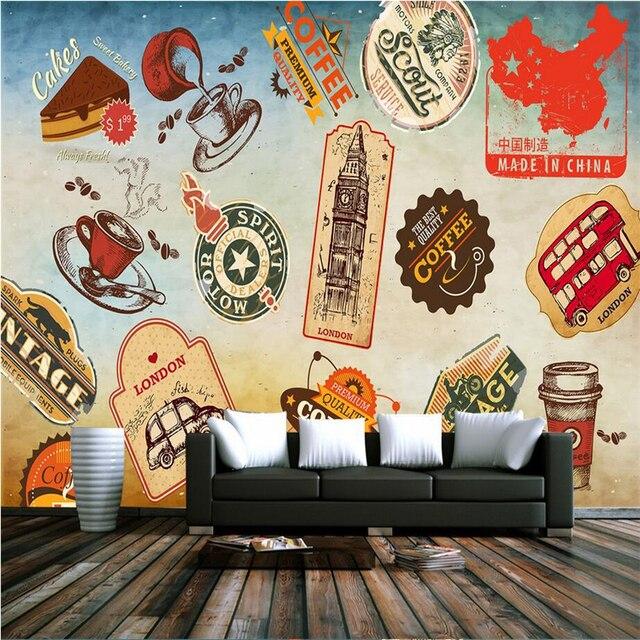 Custom 3d wall murals fashion sticker logo interior wallpaper vintage large wall murals tv background bedroom