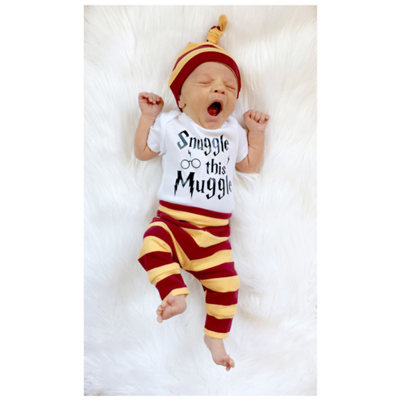 2017 Newborn Baby boys girls clothing set Letter print Snuggle this Muggle 3PCS Bodysuit+Stripe Pants+Hat Outfits clothes sets