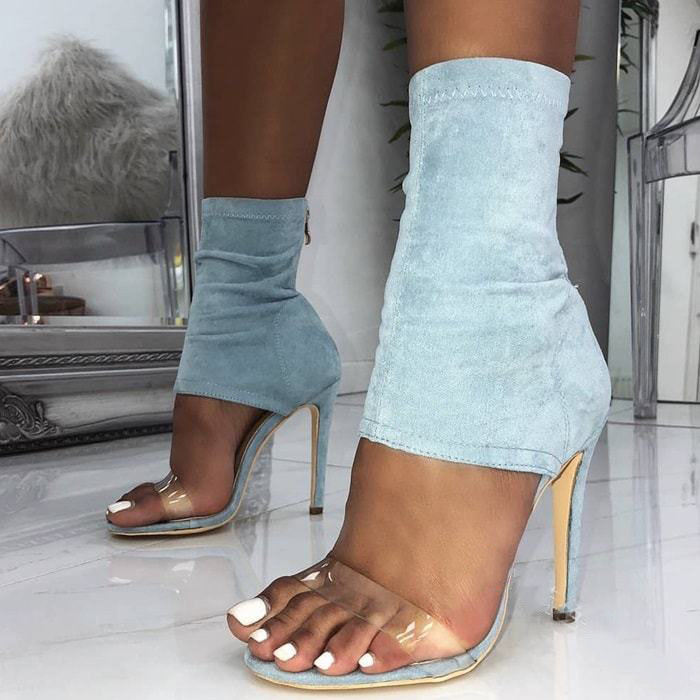 2019 high heel ladies sandals with zipper crystal PVC sexy peep toe thin heel Stretch denim women summer shoes