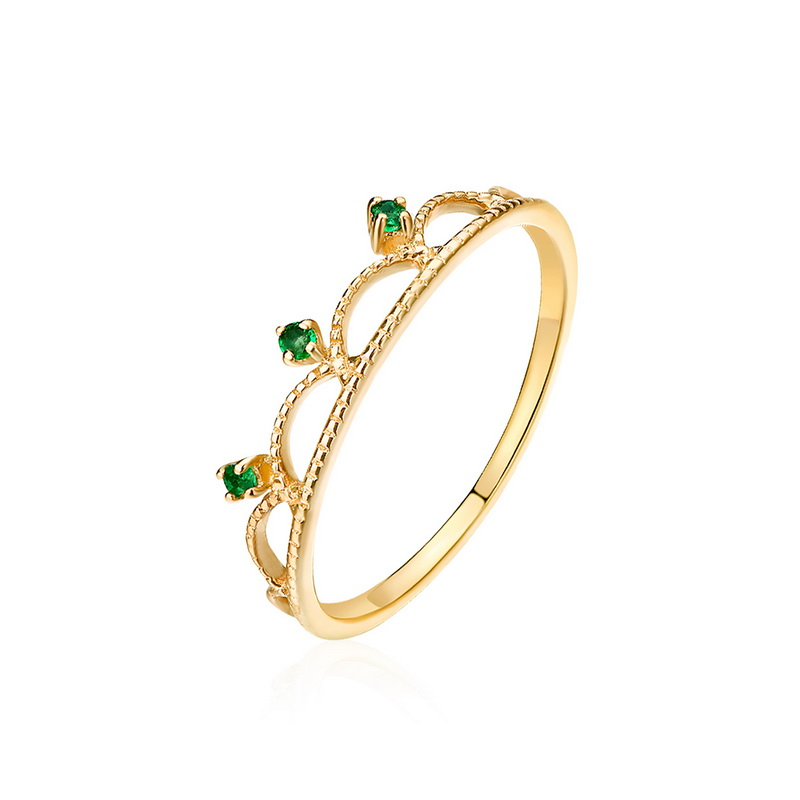 JXXGS Green/White Zircon Fashion Finger Ring Crown 14K Gold Ring Rose Gold/Gold Ring For Women Gifts