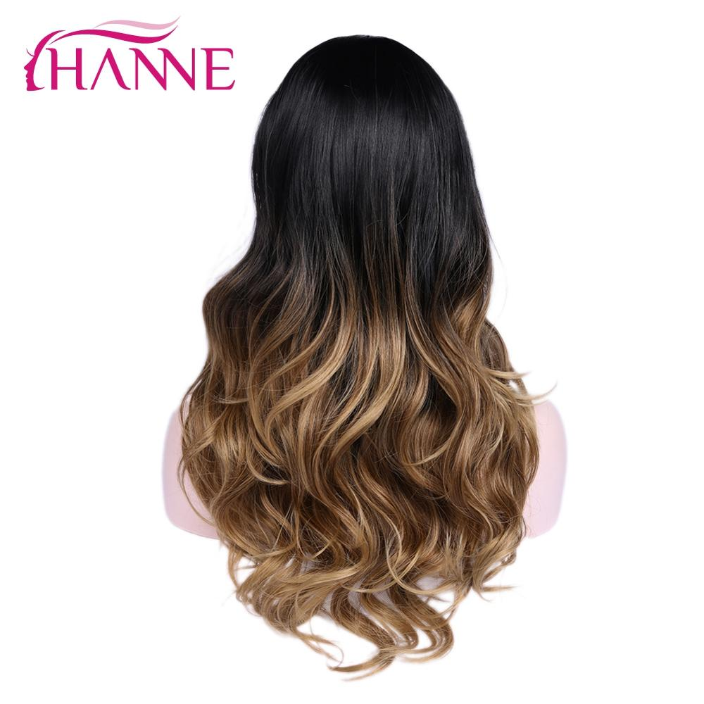HANNE Long Wavy Wig Ombre Brown Blonde/Grey High Density Heat Resistant Synthetic Hair Wig For Black/White Women Cosplay/Party(China)