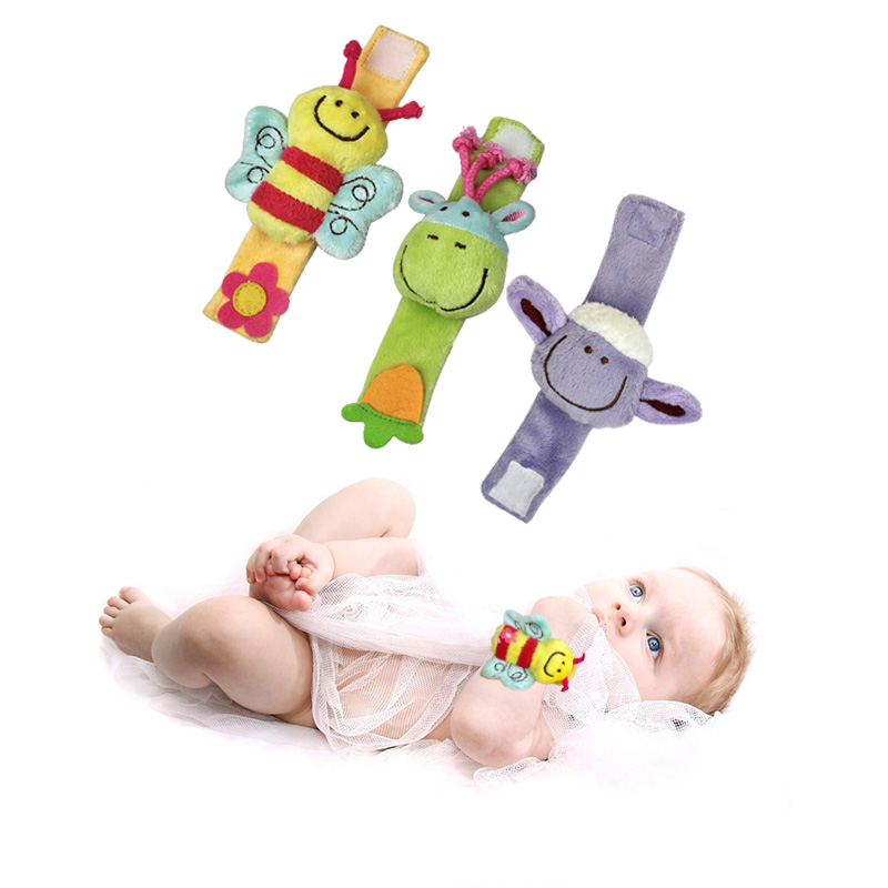 Baby&Kids Cartoon Baby Plush Wrist Strap Rattles Toys 0-12 Months Children Infant Newborn Soft Animal Rattles Mobiles