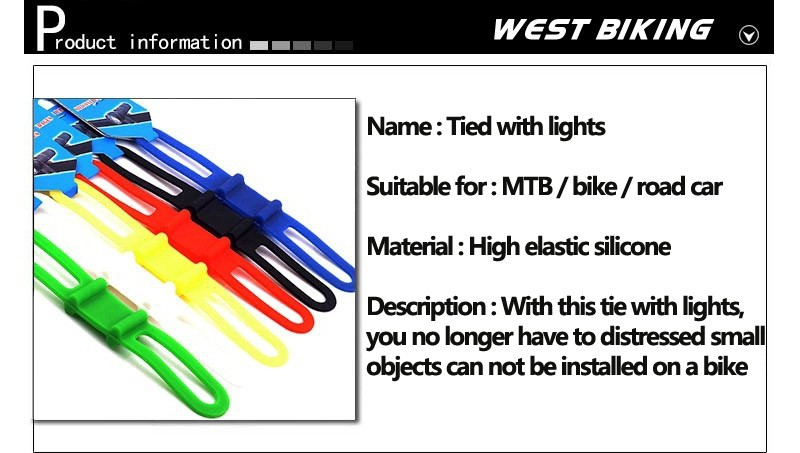 Extrbici All-purpose Bicycle Silicone Straps 4 Colours High Elasticity Silicone Bike Straps for Tying Light Cycling Accessories 5 Same Colours in a Pack for Sale