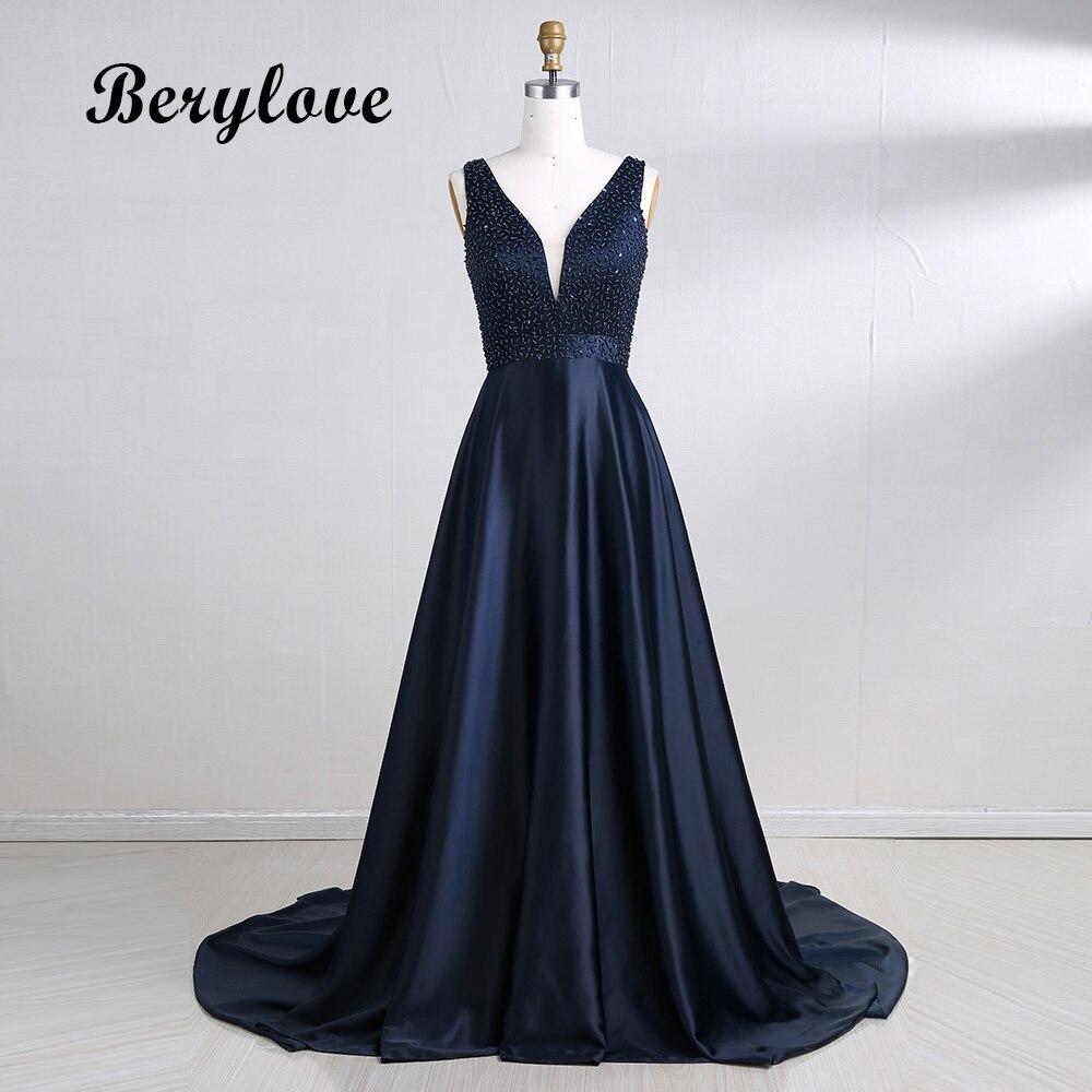 f1b33277bc2 BeryLove длинное темно-синее платье для выпускного вечера es 2019 атласный  с бисером платье для выпускного вечера глубокий v-образный вырез Формал..