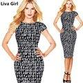 Liva girl 2017 primavera ucrânia carta das mulheres trabalho verão vestidos de festa sexy lápis de manga curta mid-calf o pescoço dress