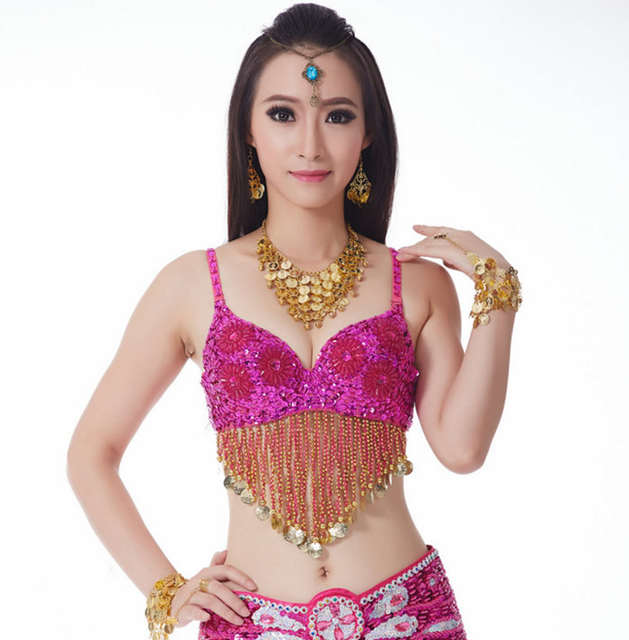 583ffca6bb Online Shop Sexy Flower Sequin Beaded Belly Dancer Bra Women Girls Tassel  Costume Top Festival Dancing Outfit 34 75C
