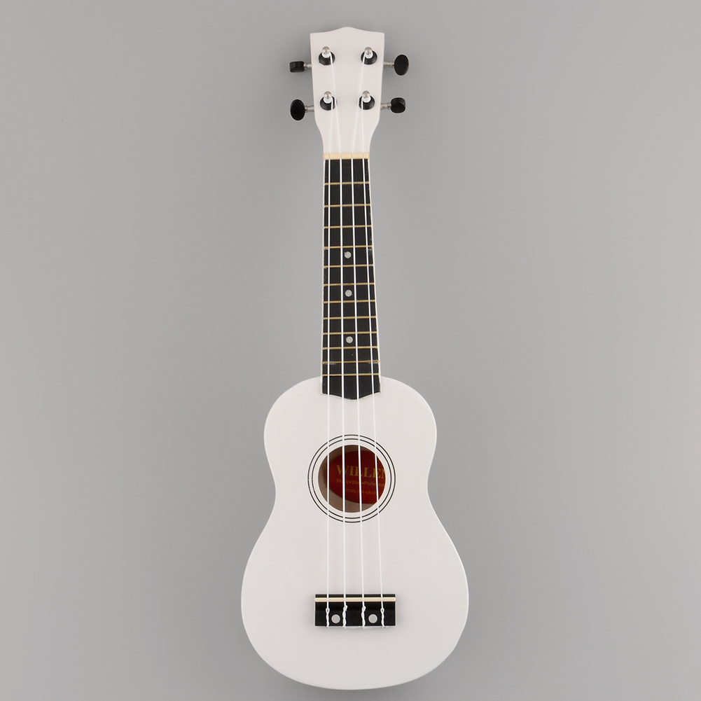Guitar White Ukulele Mini 12 12-Frets-Instrument 21-Inches Entertainment-Supplies Soprano title=