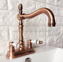 Antique Red Copper Deck Mount 4 Center Bathroom Sink Faucet Two Handles Basin Mixer Tap Krg051