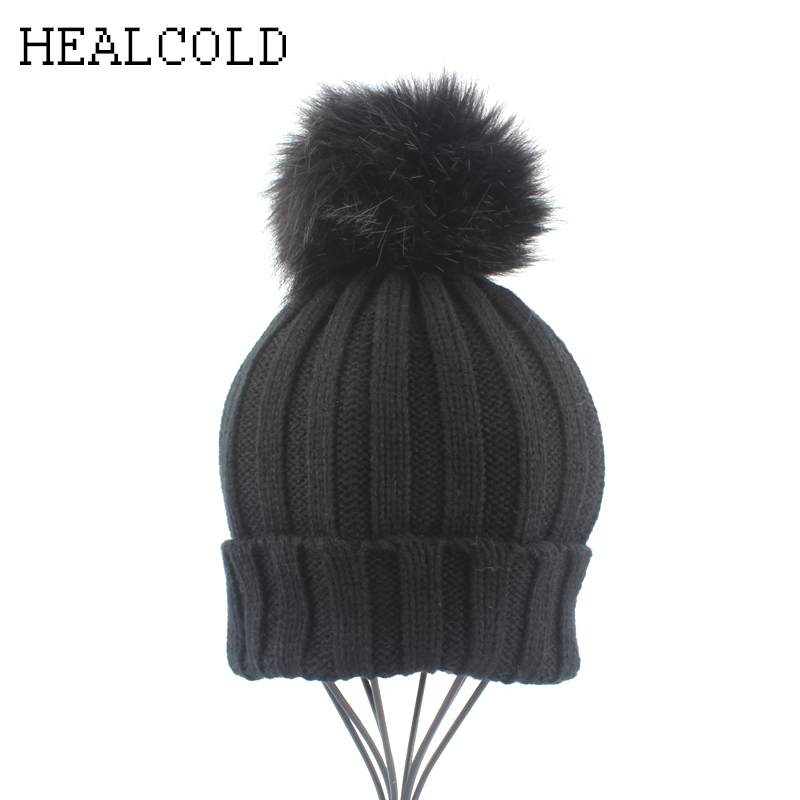 Winter Kids Cap Boys Girls Faux Fur Pompom Hats For Children Baby Warm Crochet   Skullies     Beanies
