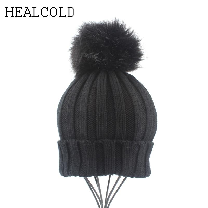 Winter Kids Cap Boys Girls Faux Fur Pompom Hats For Children Baby Warm Crochet   Skullies     Beanies
