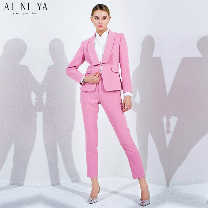 new Pink Women Elegant Pant Suits OL Formal Work Wear 2 Pieces Set Blazer Female Office Uniform Slim Fit Ladies Trouser Suits