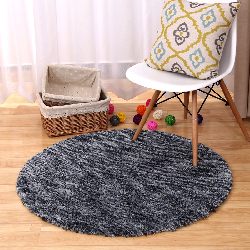 80cm round grey soft shaggy rug carpet bedroom parlor living room chair area carpet rugs anti - Fluffy Rugs