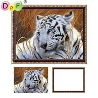 DPF Oprawione diy Diament Malarstwo Biały tygrys Diament Haft mozaika pełny okrągłe wiertła domu rzemiosła malowanie ścian malowanie zwierząt