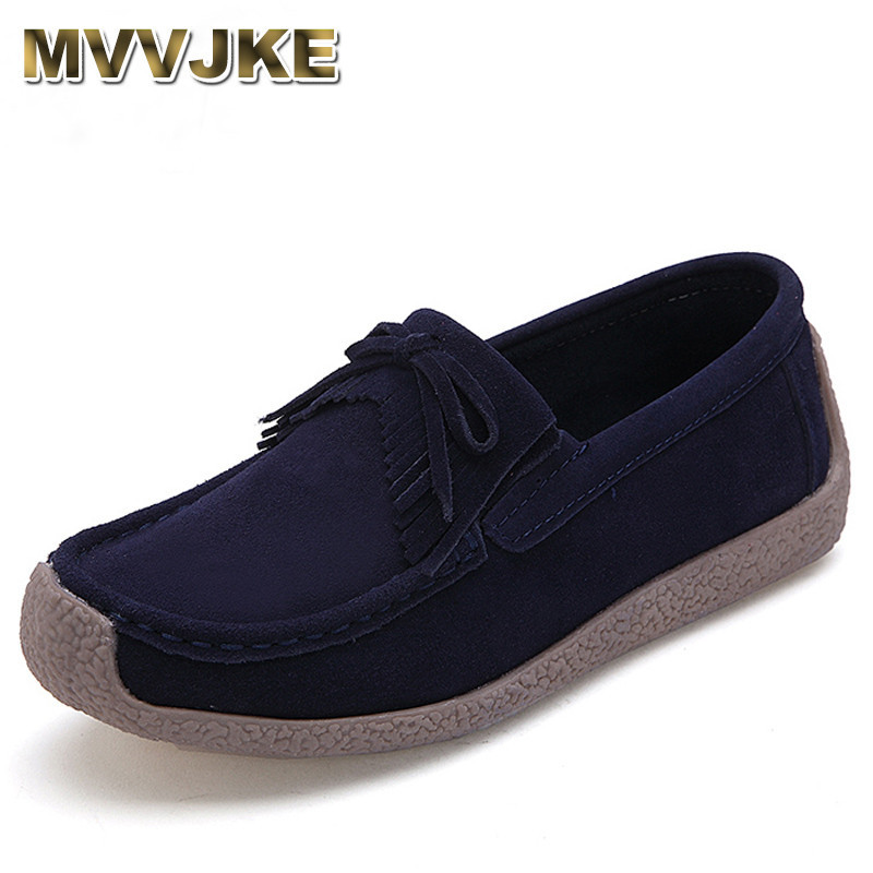 MVVJKE Autumn women flats   leather     suede   slip on fringe loafers shoes ballet flats cowhide flexible fur boat oxford shoes