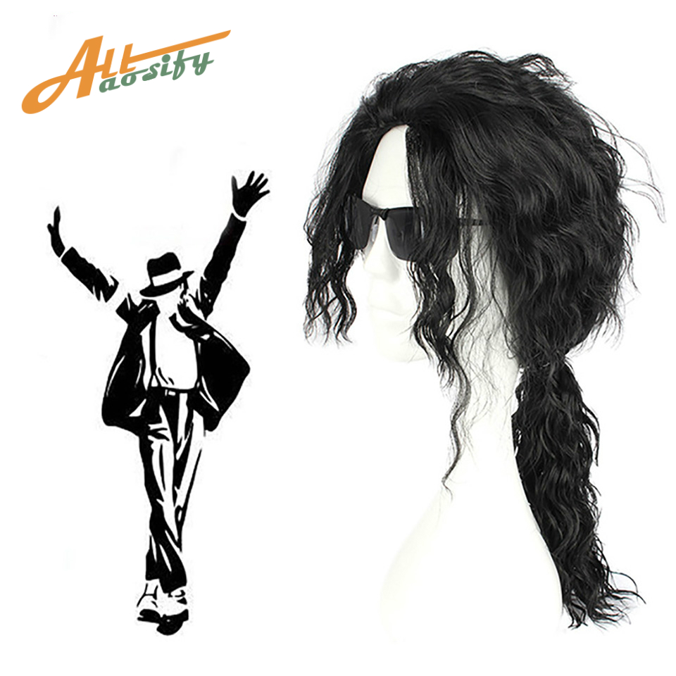 Allaosify Cosplay Black Wig Long Wavy Curly Wig for Heat Resistant Fiber Wigs Cosplay Anime Wig ...