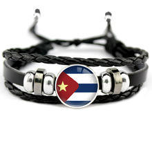 Country Flags Soccer Sports Bracelets World Cup National Silver 18mm Glass Cabochon Adjustable Leather Charm Women Men Jewelry