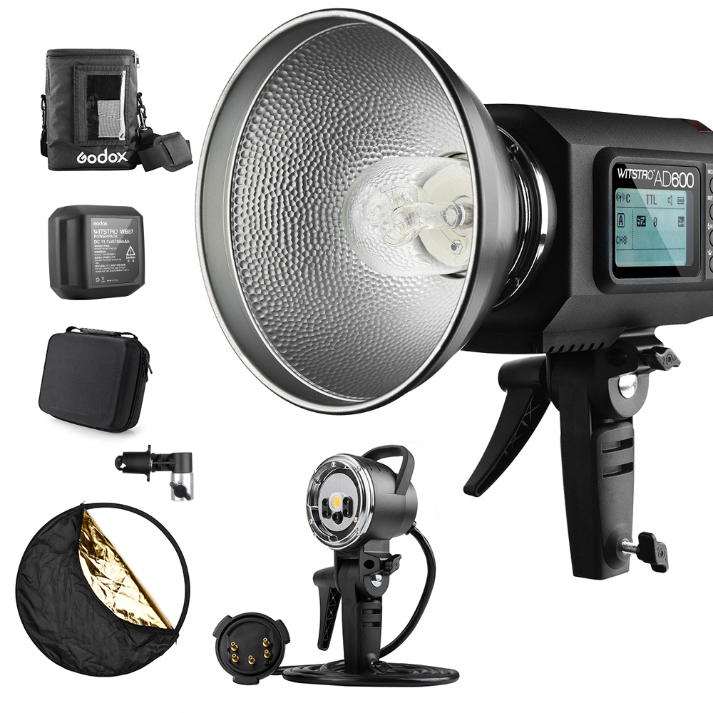 Godox AD600 TTL 600Ws GN87 HSS 1/8000S Flash Light w/ 2.4G X System 8700mAh Battery+600W Portable Light Head+Portable Flash Bag