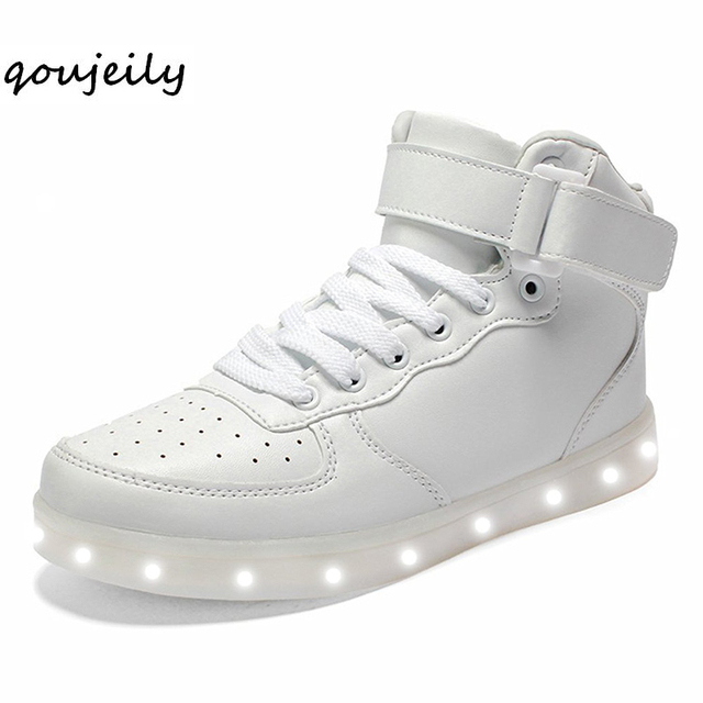1cf376fa6a2e QOUJEILY High Top Luminous Sneakers Led Light up Shoes Men USB Charger  casual Lace Up Unisex Sports Adult Glowing Shoes Young