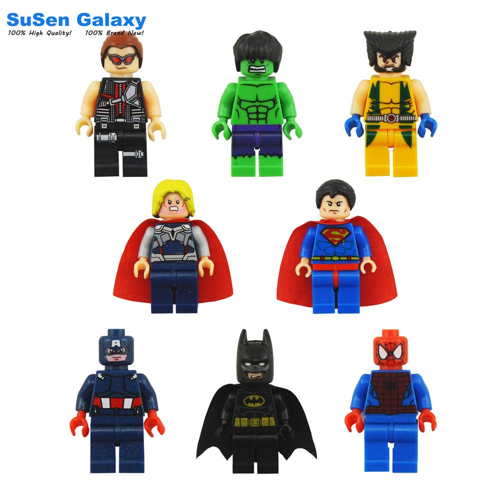 8pcs/lot New Hot Super Heroes Avenger Kid Baby Toy Mini Figure Building Blocks Toys Minifigures Brick Compatible with Lego