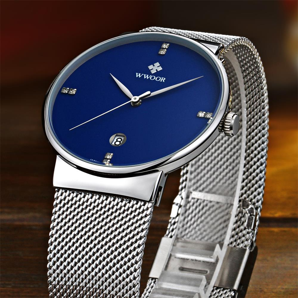 2019 Famous Brand WWOOR Watches Men Stainless Steel Mesh Band Fashion Quartz Watch Ultra Thin Blue Dial Clock Relogio Masculino