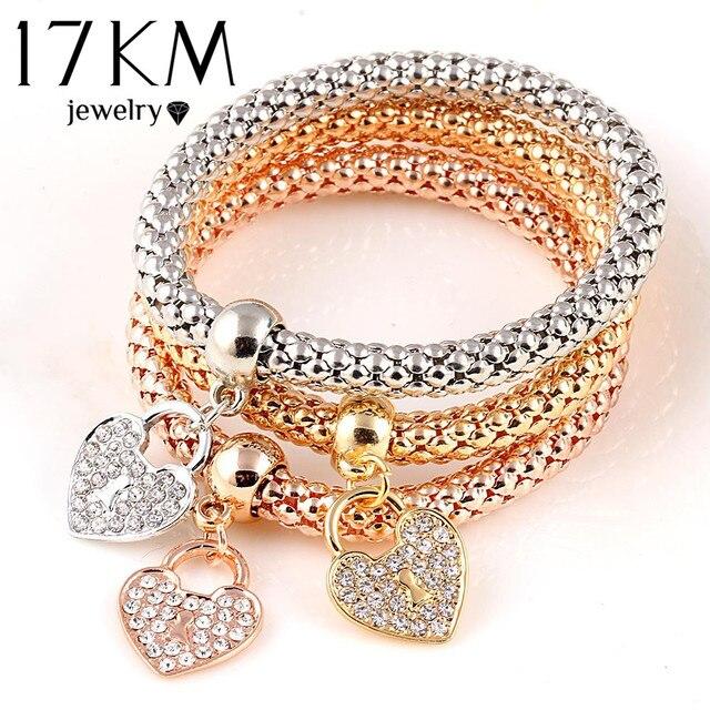 17KM 3Pcs Gold Color Heart Charm Elastic Bracelets For Women Pulseras Bracelet C