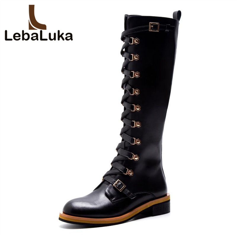 LebaLuka Women Flats Boots Genuine Leather Winter Zipper Woman Shoes Rivets Knee High Boots Fashion Warm Knight Boots Size 34-40LebaLuka Women Flats Boots Genuine Leather Winter Zipper Woman Shoes Rivets Knee High Boots Fashion Warm Knight Boots Size 34-40