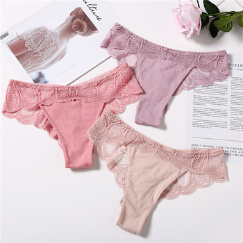 3Pcs Panties Sexy G-String Underwear Lace Briefs For Women Fashion Floral Panty Female Lingerie Low-Rise Brief Ladies Thong L XL 2