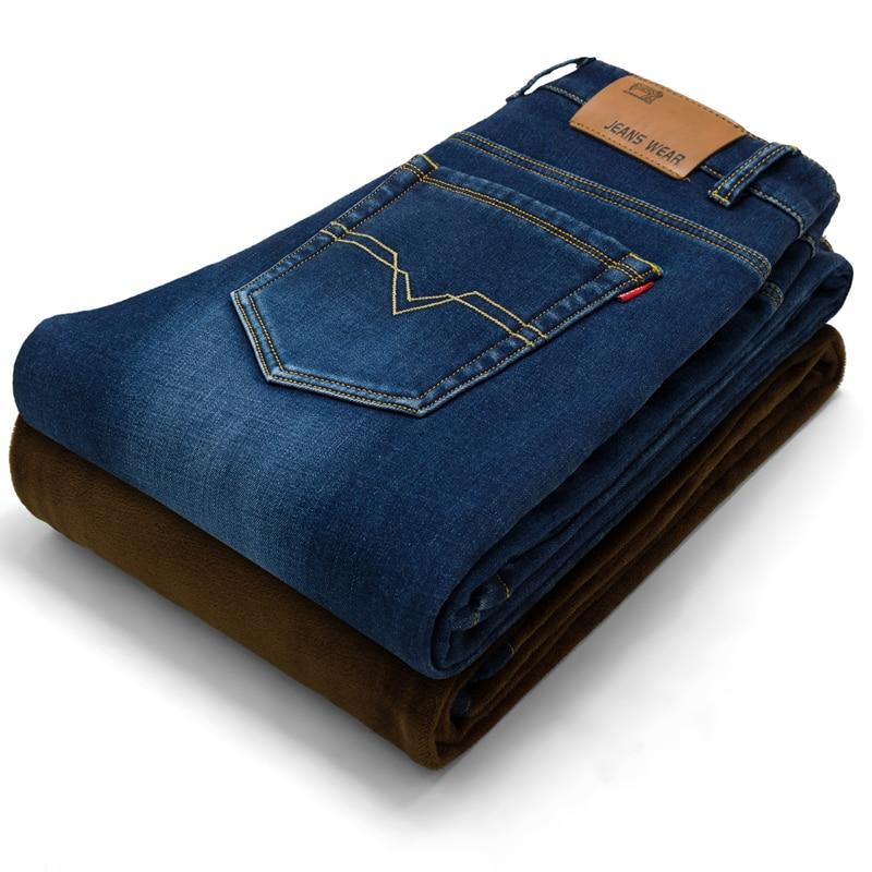 fashion Men plus velvet thicken jeans male straight Slim fleece Elastic jeans tide men's casual jean trousers cotton demin pants hot velvet elastic waist men jeans male