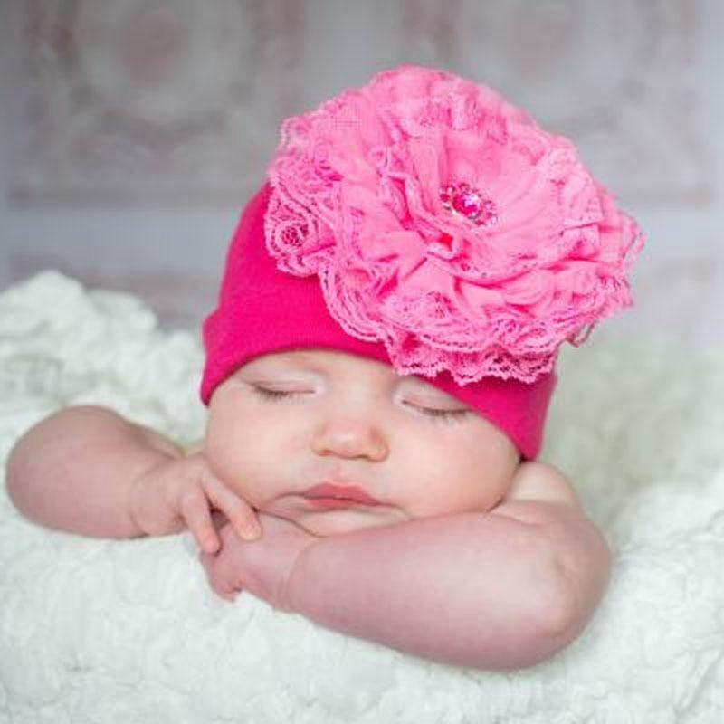 Cotton Lace Baby Hat Baby Girl Flower Hat Newborn Lace Beanie Cap Girls Children Caps Photo Props Accessories SW165